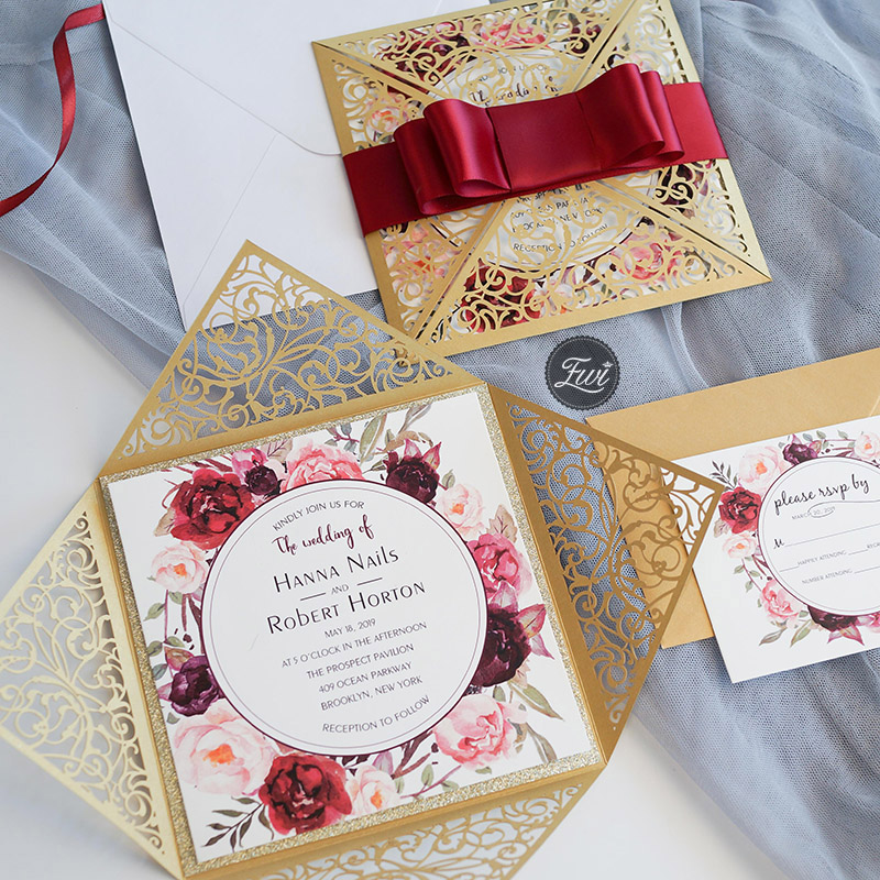 burgundy shades with champagne and gold shimmer laser cut wedding invitations