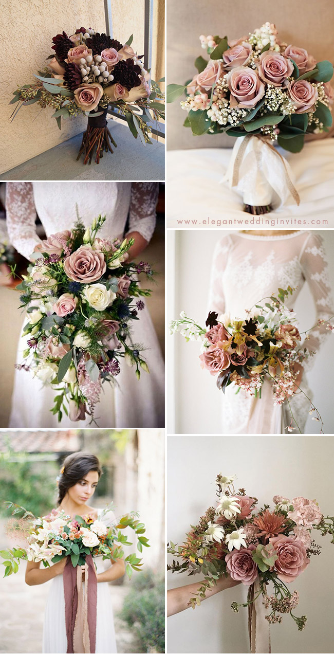charming dusty rose bridal wedding bouquets ideas