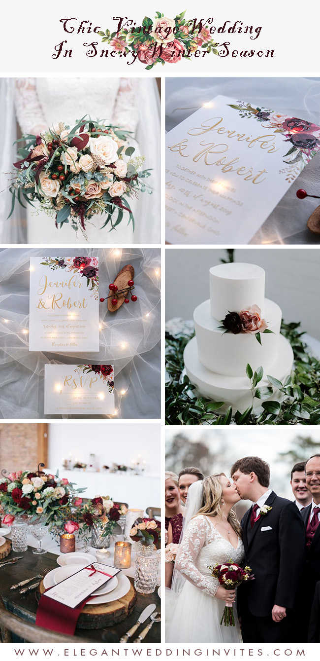 chic vintage marsala and blush winter wedding color inspiration for snowy season