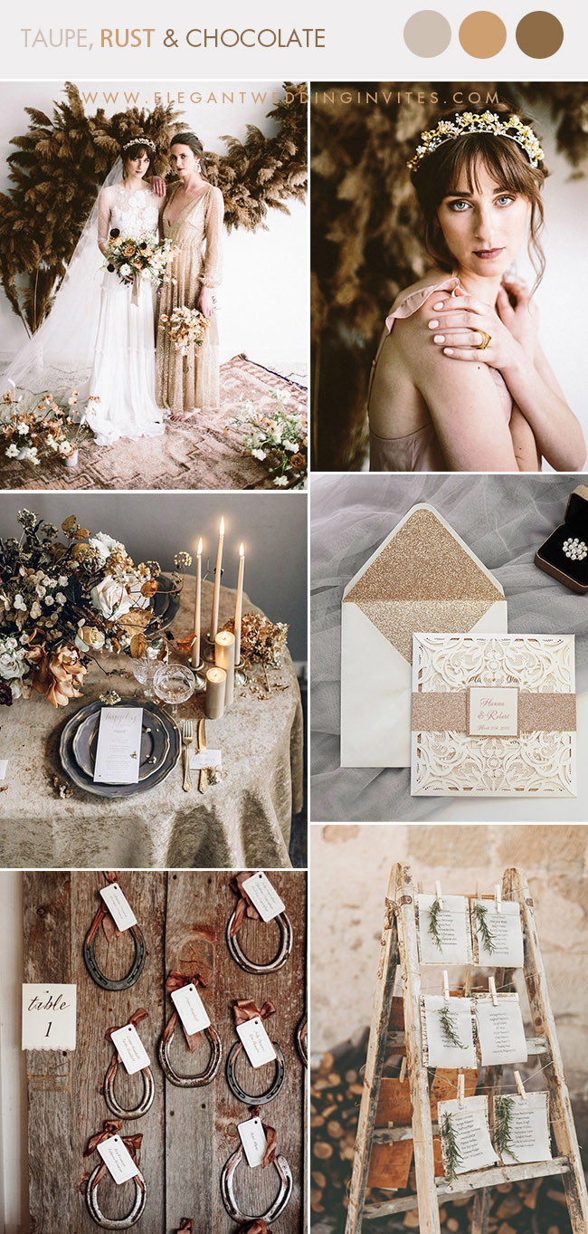 chocolate brown rust shade and taupe fall and winter wedding color combos