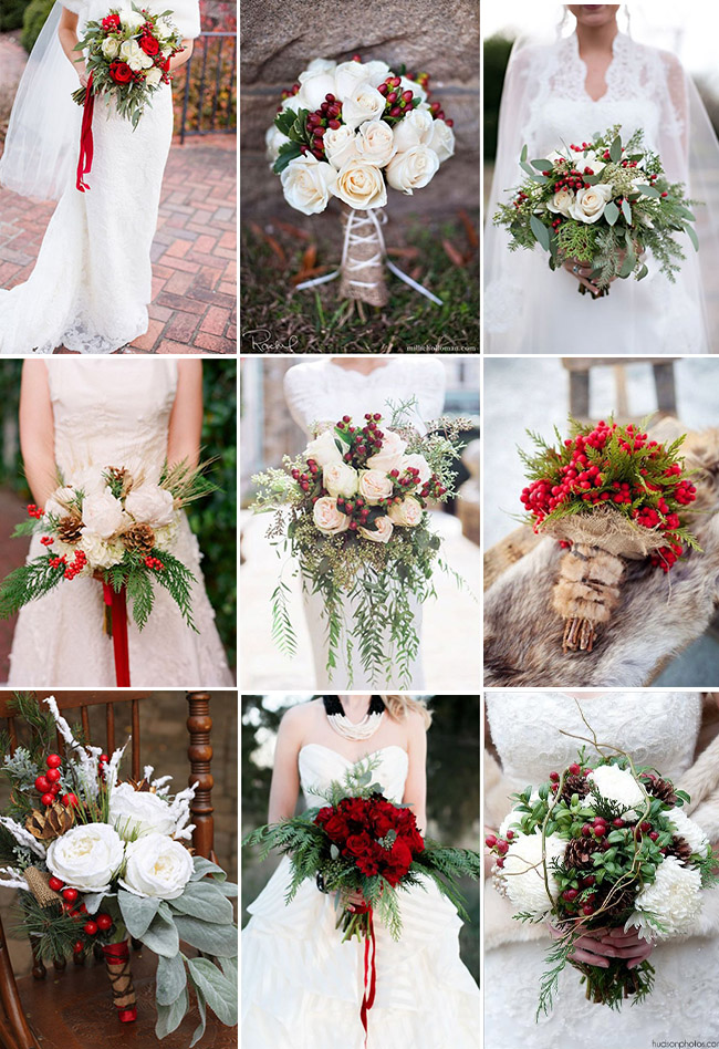 christmas festive winter wedding bouquets
