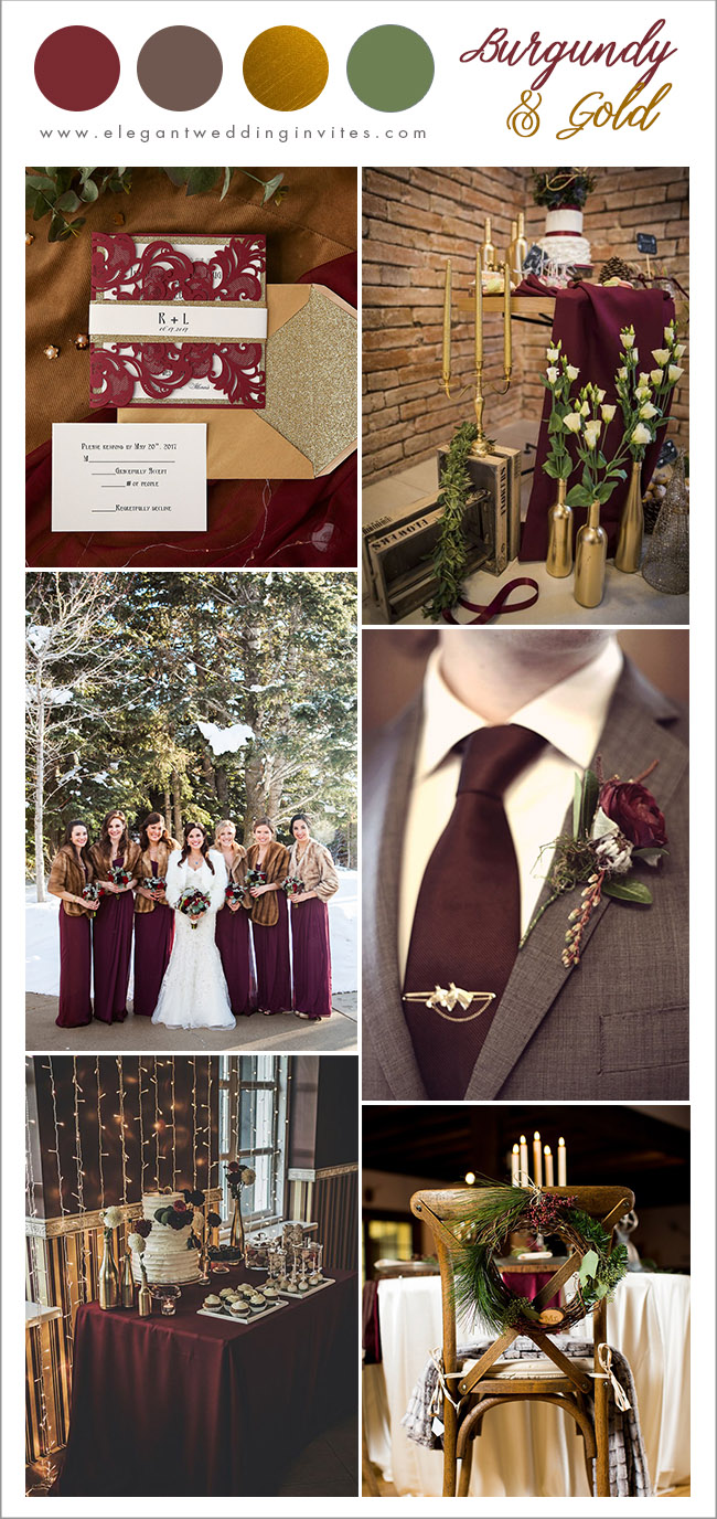 classic burgundy, brown and gold winter wedding color combos