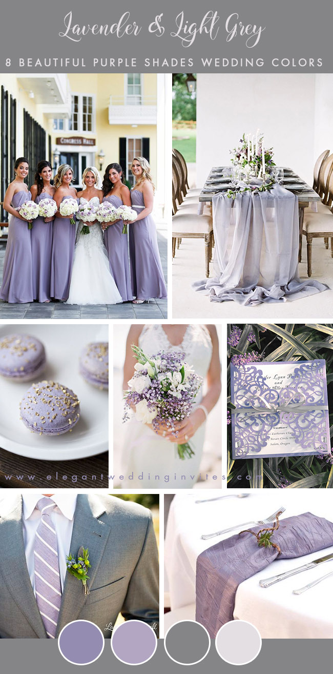 classic lavender and grey spring and summer wedding color palette