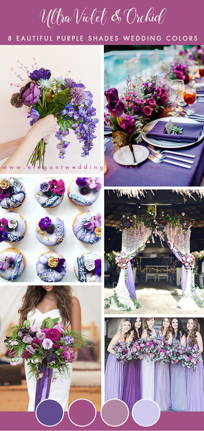 colorful ultra violet and orchid summer wedding colors