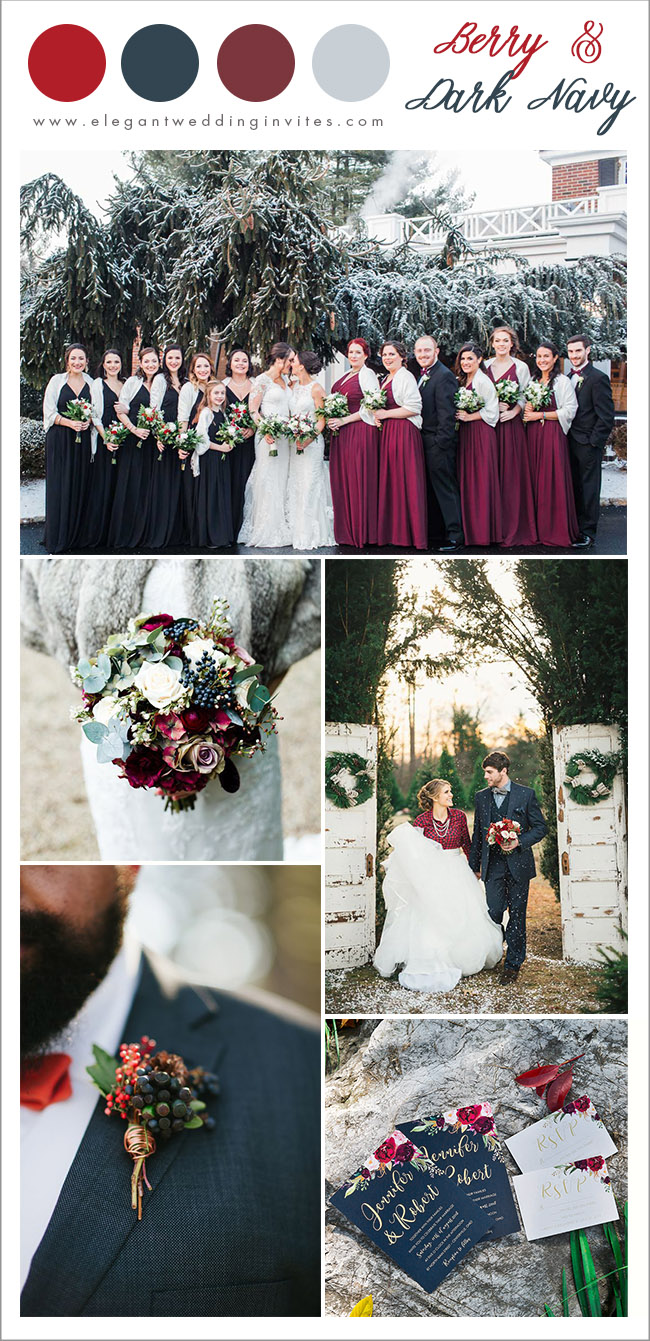 cranberry tone and navy blue christmas theme winter wedding colors