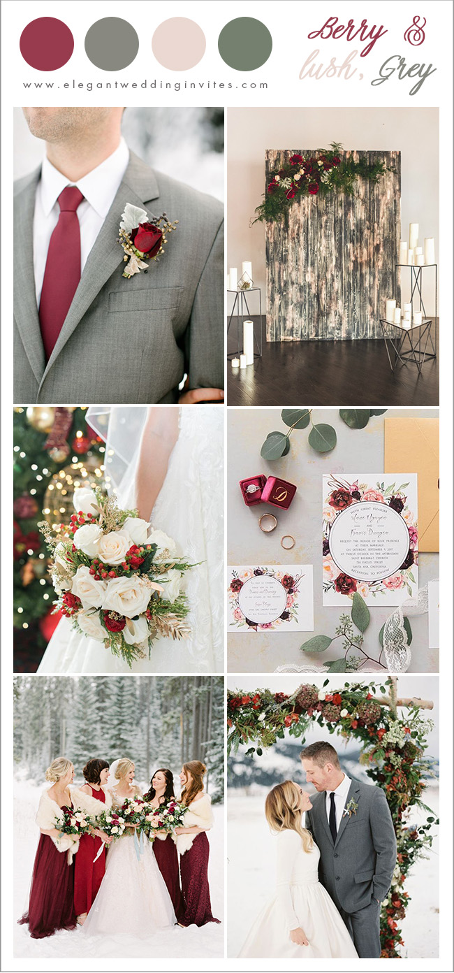 cranberry, grey and blush romantic winter wedding color ideas