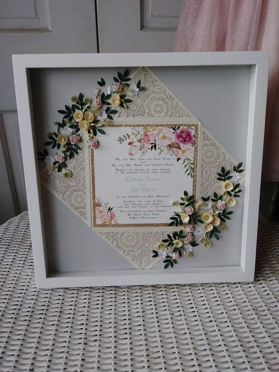 diy wedding invitation frame artwork