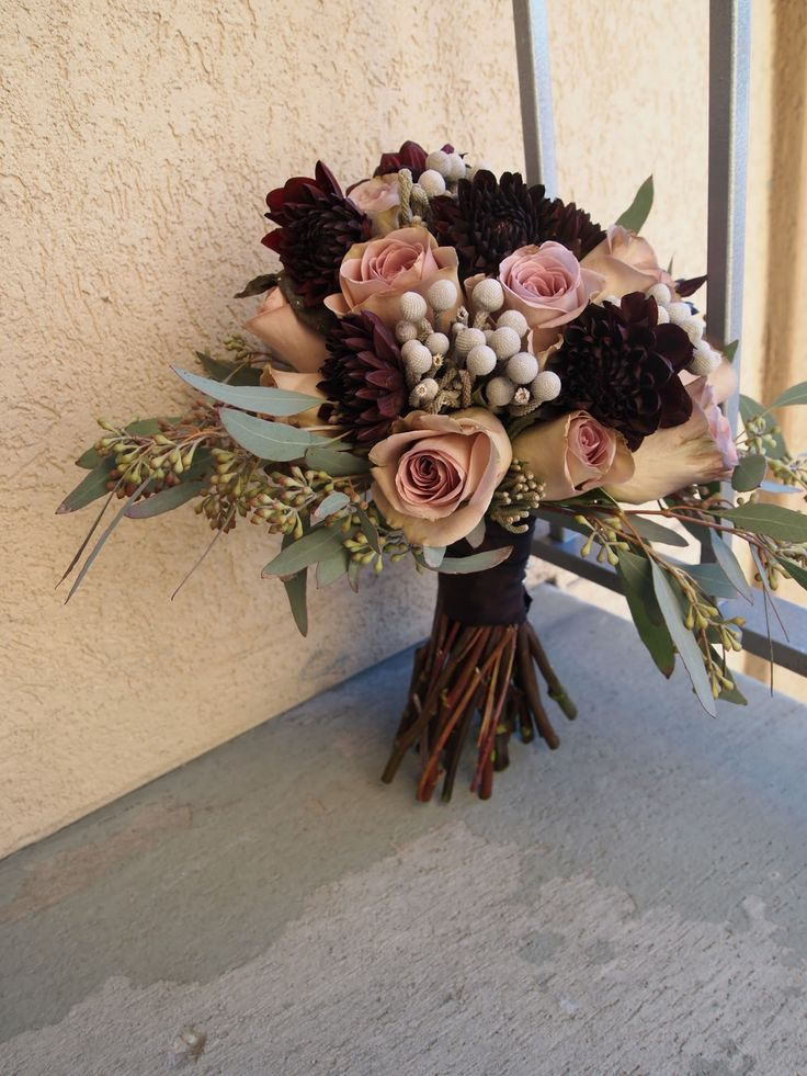 dusty rose and burgundy bridal bouquets