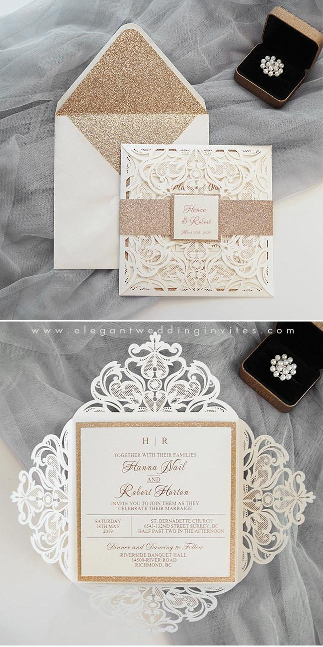 elegant rose gold and ivory luxury laser cut wedding invitations