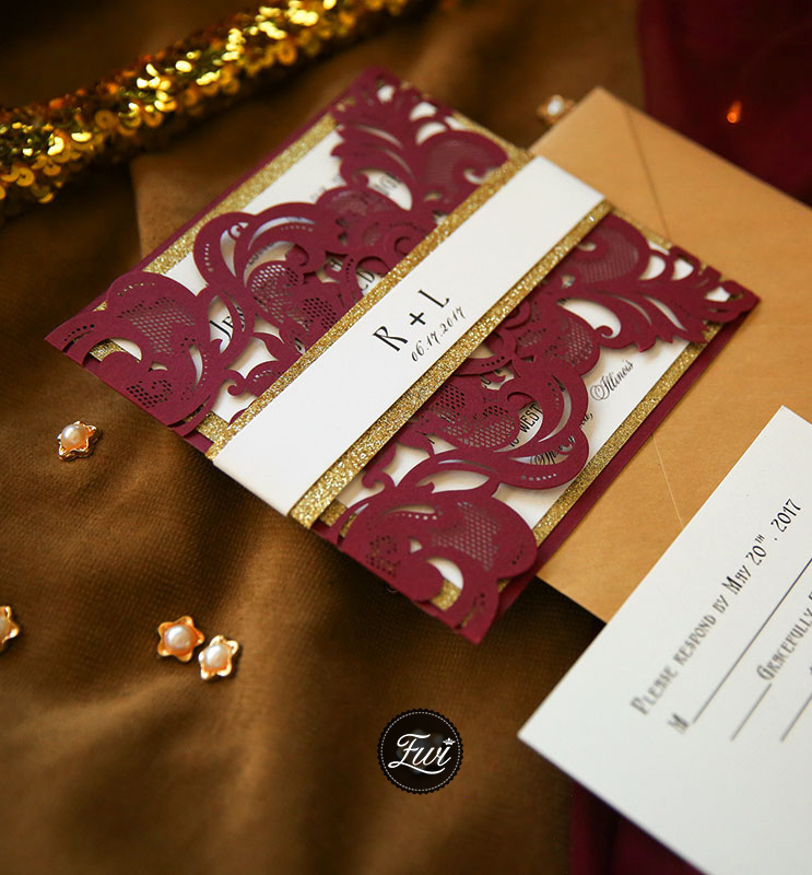 fall and winter burgundy and glitter gold laser cut wedding invitations