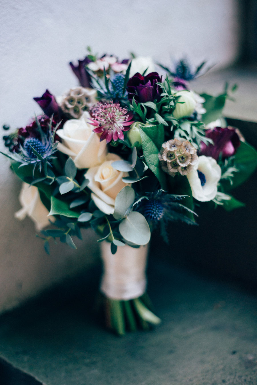greenery and rose colorful festive winter wedding bouquets