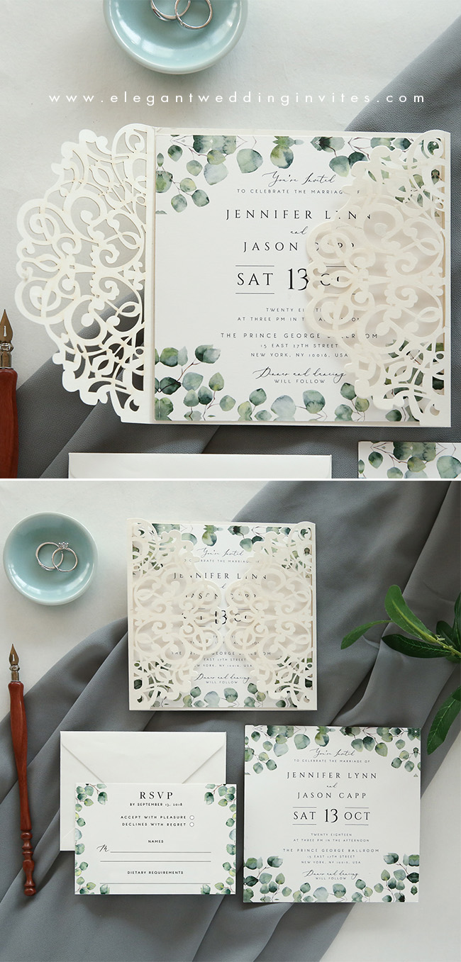 ivory laser cut wrap invitation with green botanical touches for spring and winter weddings
