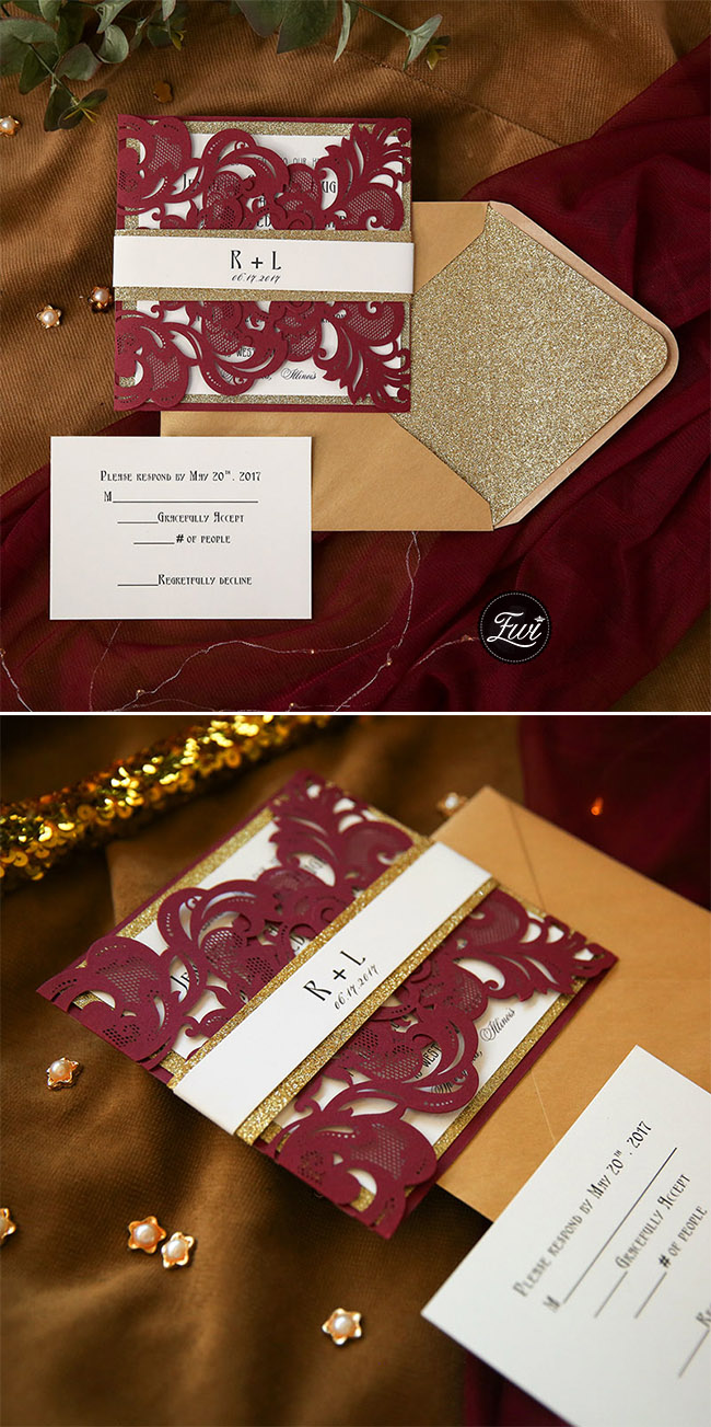 luxury burgundy and gold laser cut fall and winter wedding invitations