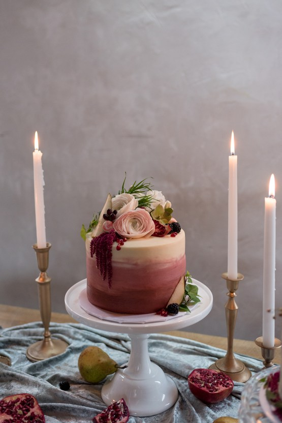 mini watercolor vintage dusty rose and berry tone wedding cakes
