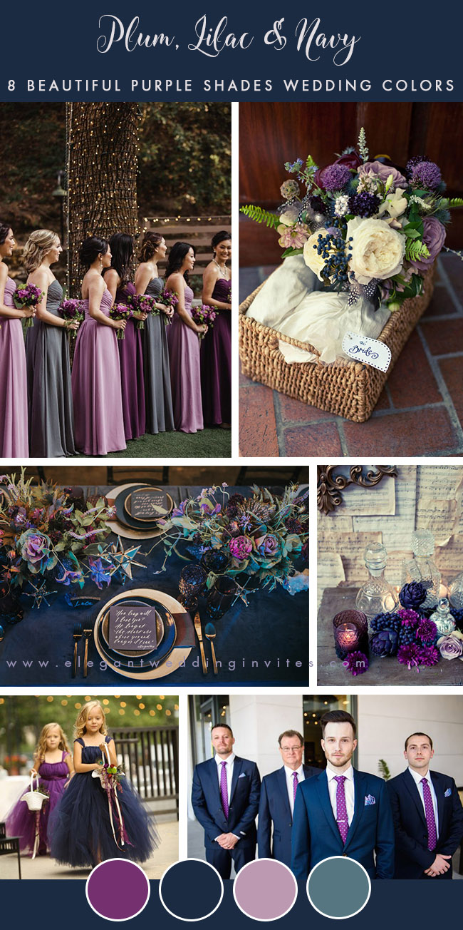 orchid, lilac and navy blue fall wedding colors