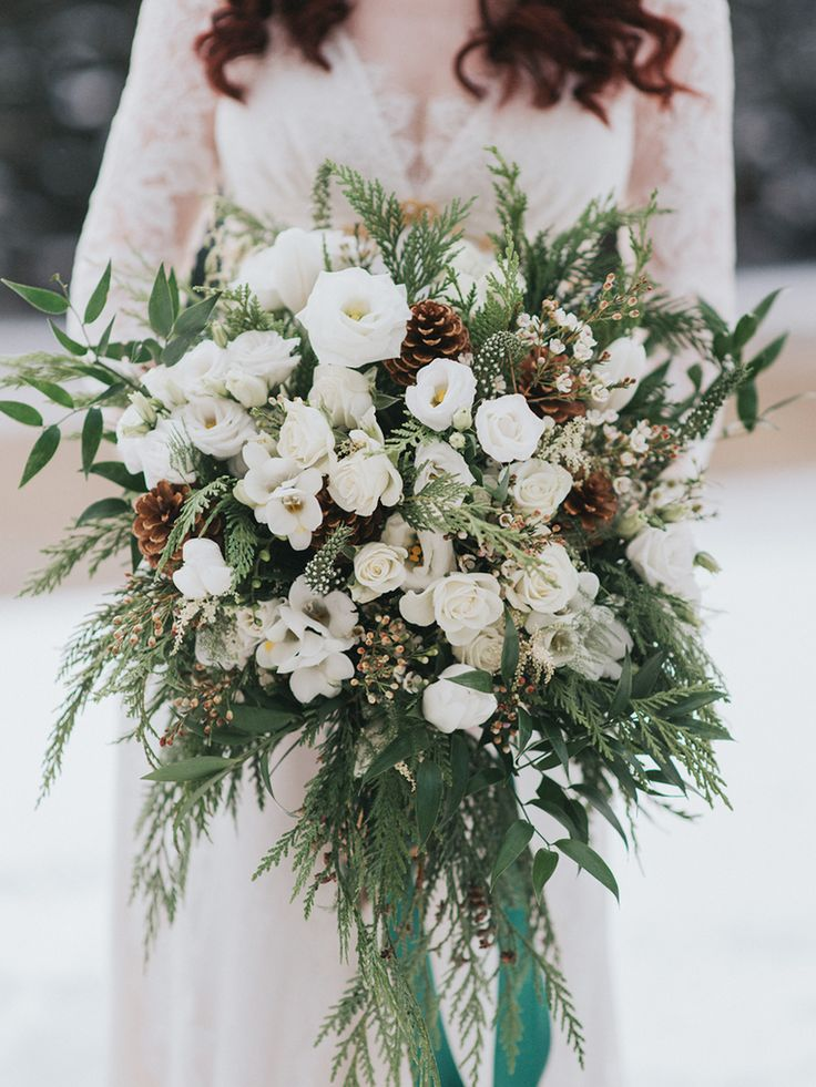 oversize organic winter wedding bouquets