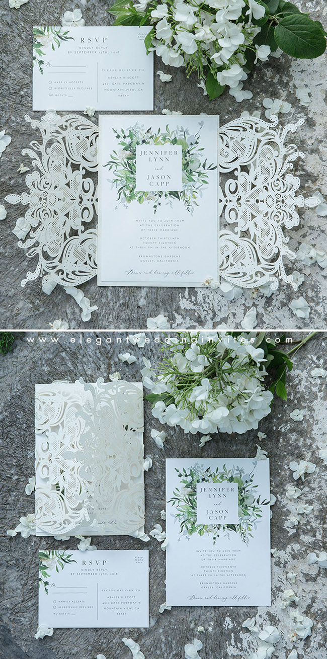 pearl white and greenery elegant laser cut wedding invites