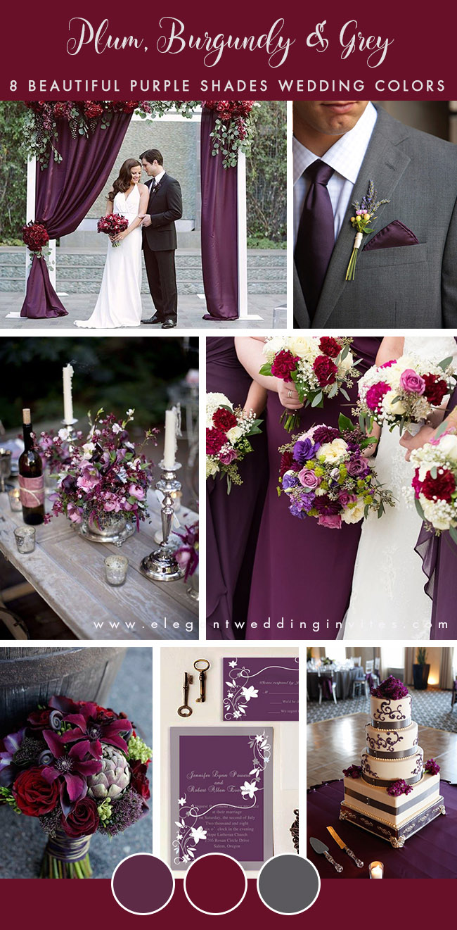 plum,burgundy and charcoal grey fall and winter wedding color palette