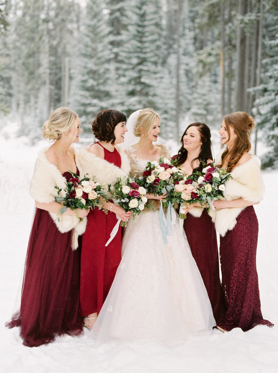 red, wine and burgandy bridesmaids dresses for winter weddings