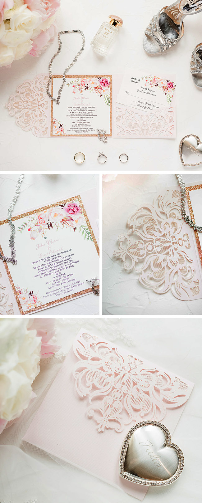 romantic blush and pink floral laser cut wedding invitation with gold accents