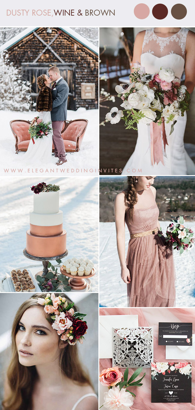 romantic dusty rose and berry tone snowy winter wedding color ideas