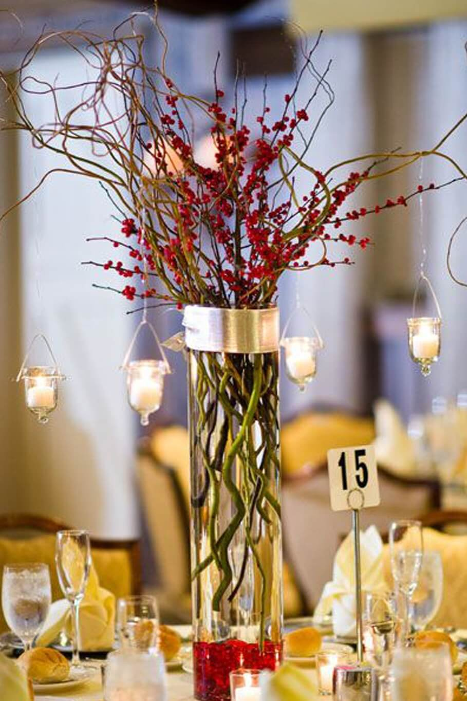 romantic tall lighted centerpieces ideas for christmas wedding