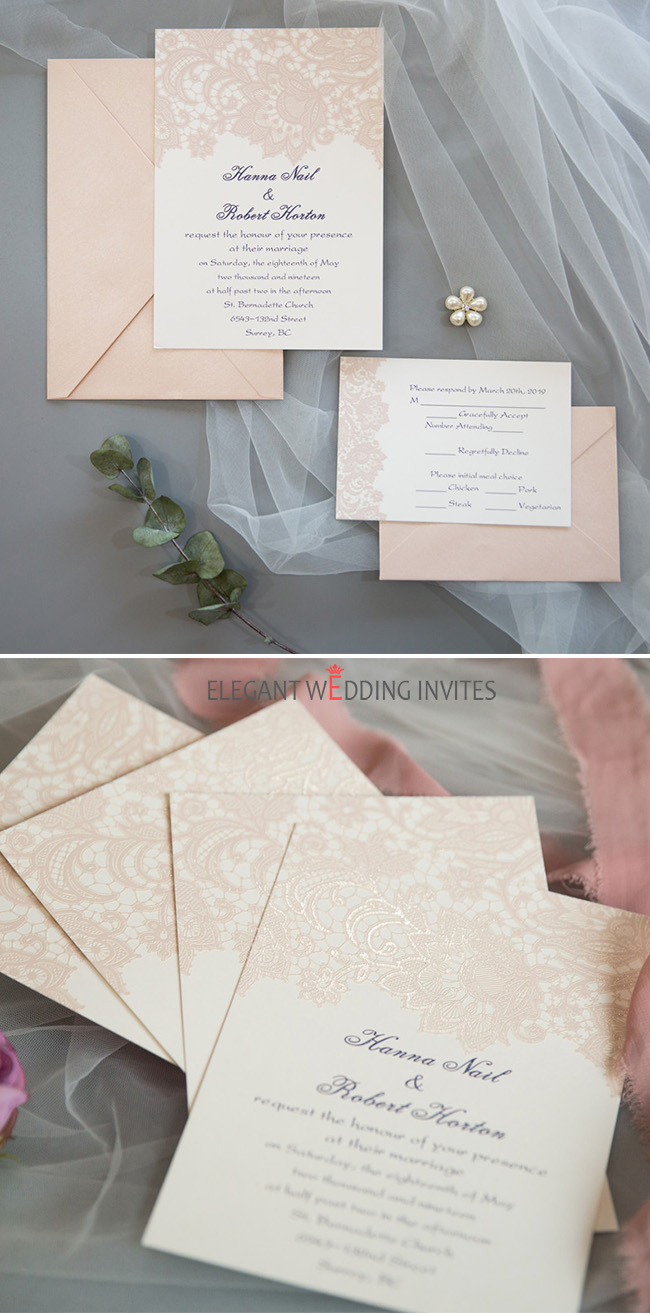 romatic blush lace UV printing wedding invitation cards