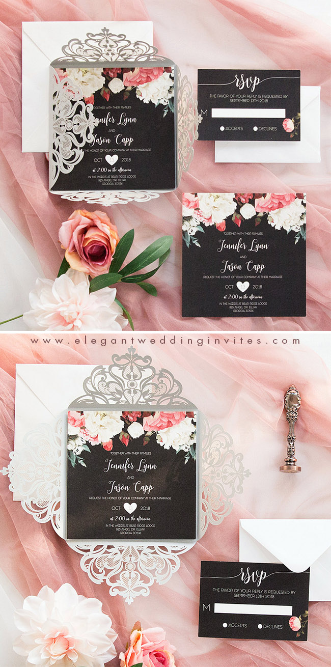 rose pink and black wedding invitation with grey laser cut wrap