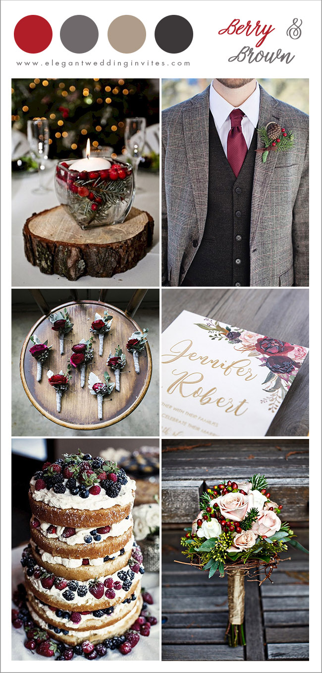 rustic berry red and shades of brown winter wedding ideas with christmas spirits
