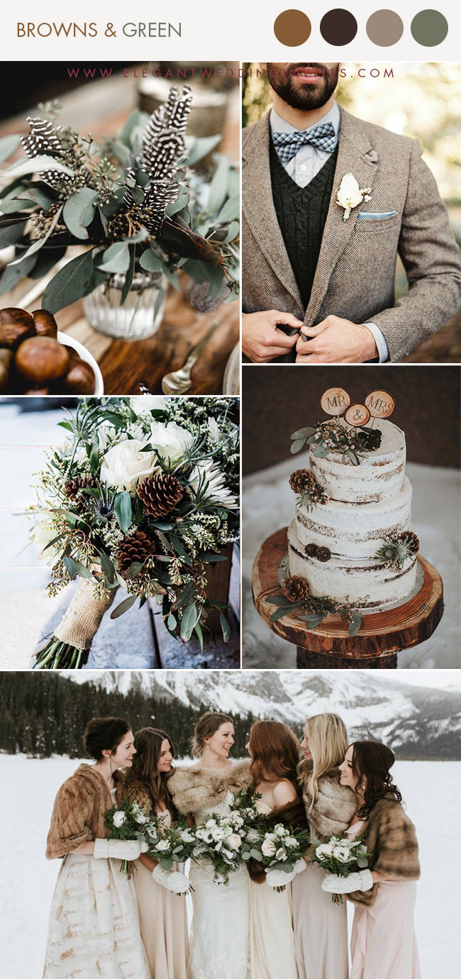 shades of brown and green warm winter wedding colors