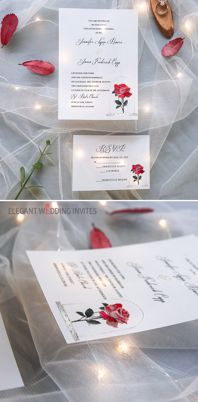 simple red and white rose vellum wedding invitation card for fairytale wedding