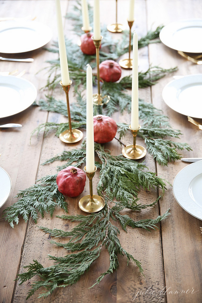 simple rustic green and red fruits winter festival wedding centerpieces ideas