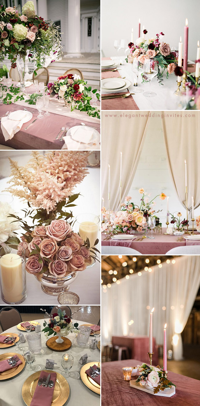 stylish dusty rose wedding table decoration ideas