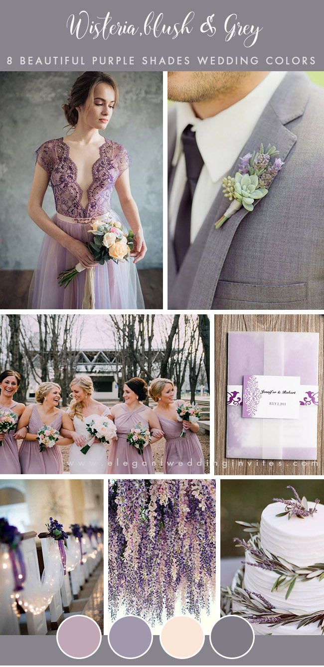 stylish wisteria purple and grey wedding color combos