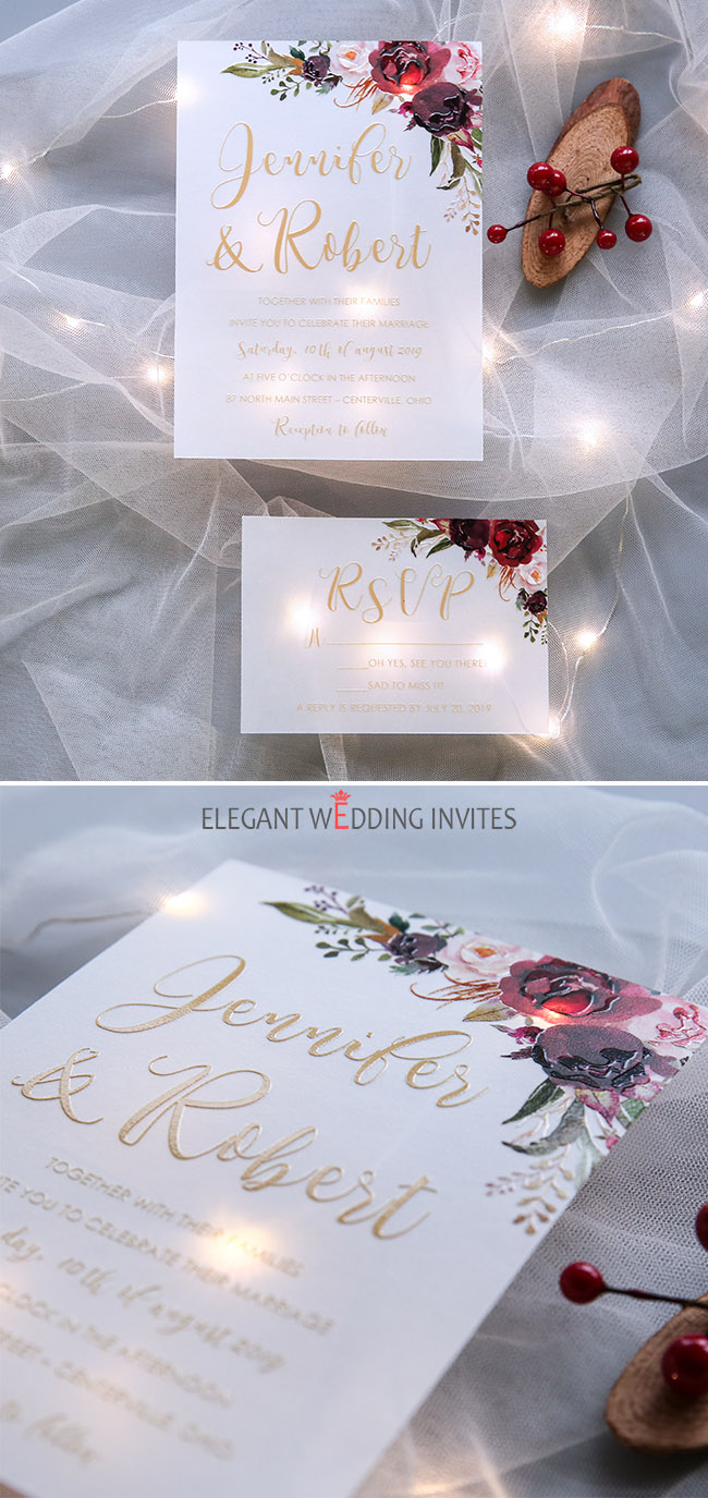 translucent dark red,blush floral vellum wedding invitation