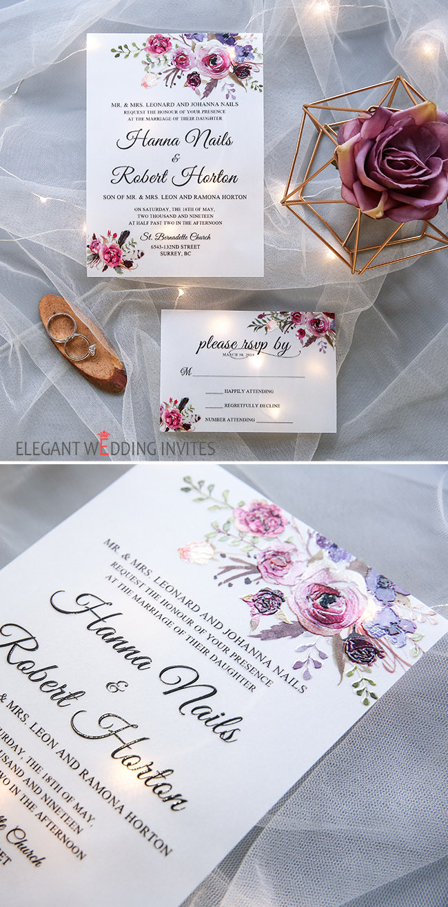 translucent magenta,purple and blue floral UV printed wedding invitation cards