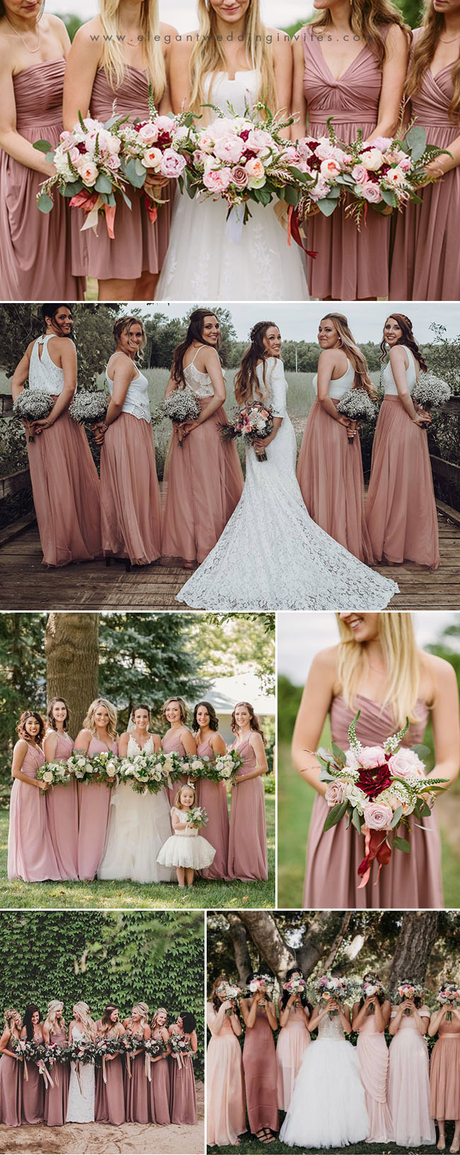 trending and stunning dusty rose bridesmaid dresses ideas