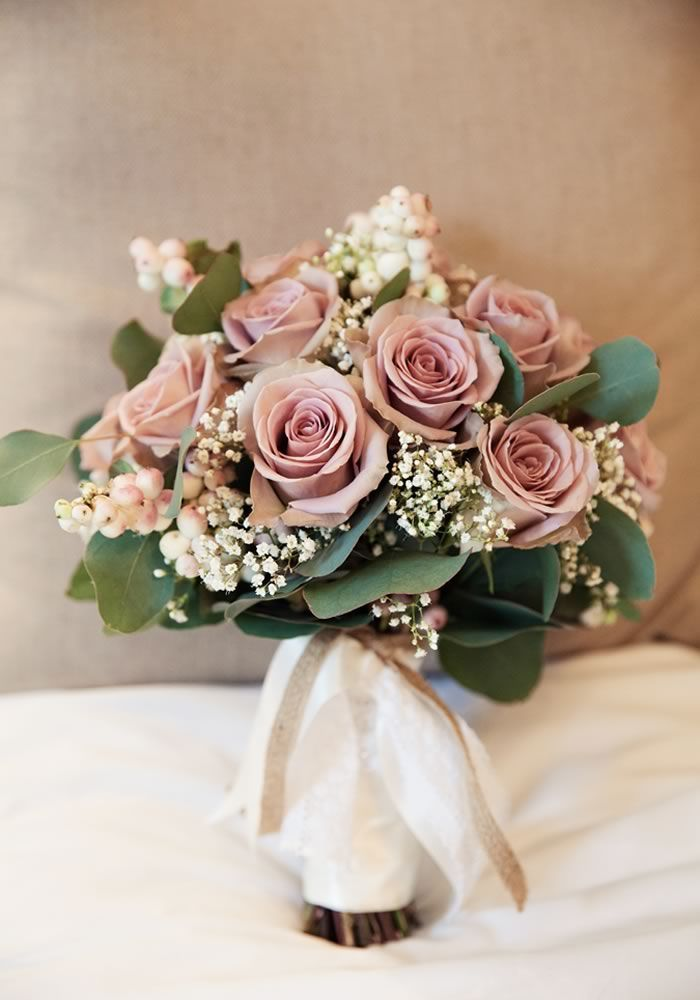 ultra elegant and romantic dusty rose wedding bouquets with greenery