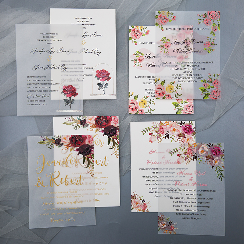 uv printed wedding invitation and uv printed vellum paper invitation