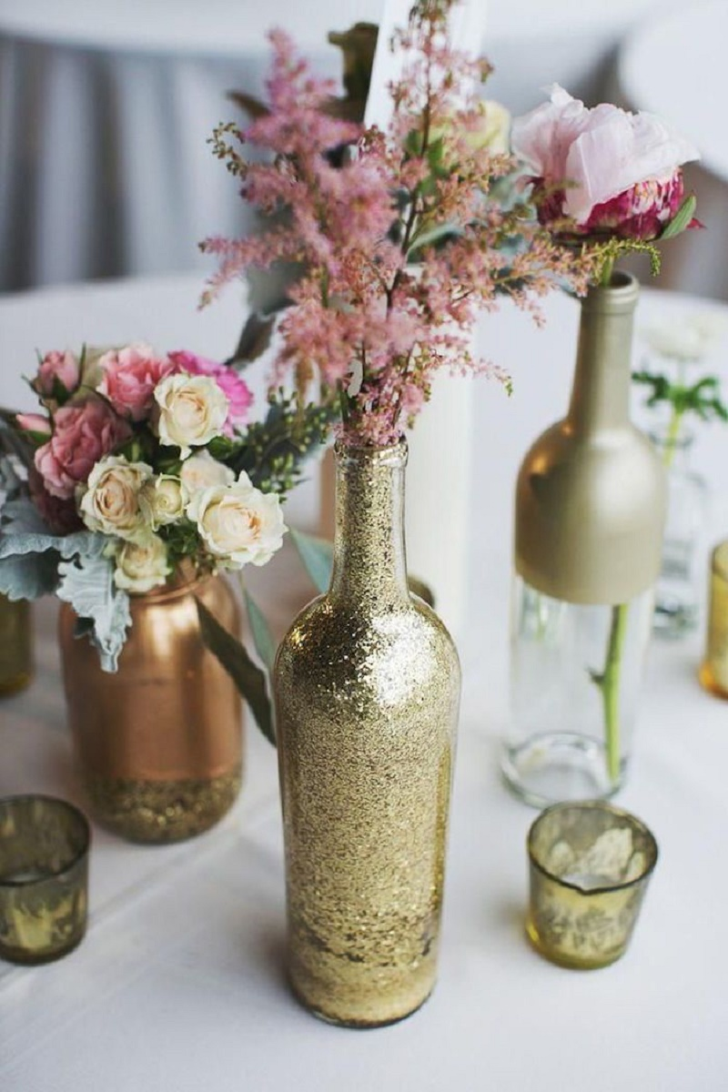 vintage dusty rose and glitter gold wedding decoration ideas