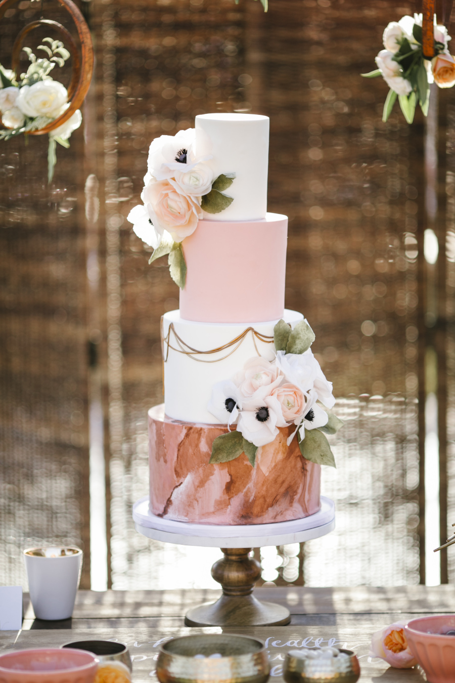 watercolor pink and dusty rose wedding cakes