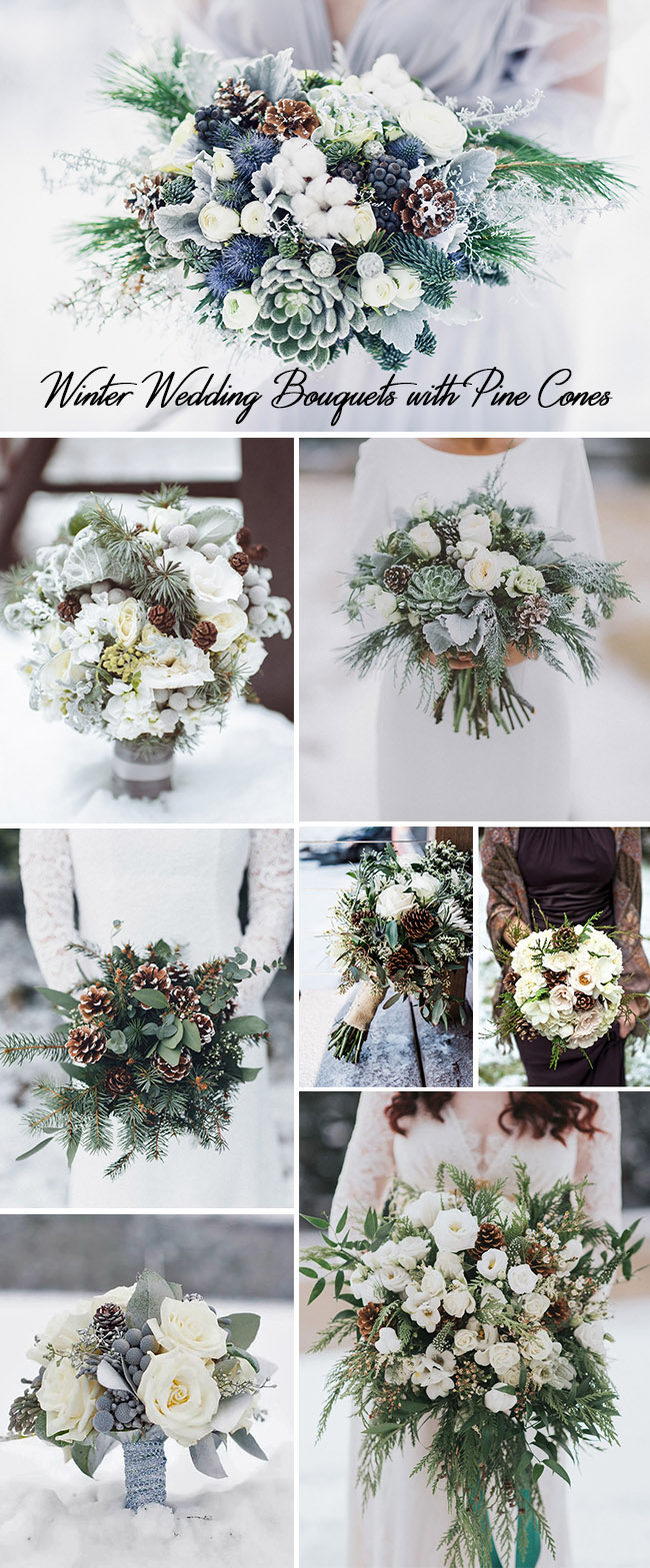 winter wedding bouquets ideas with pine cones