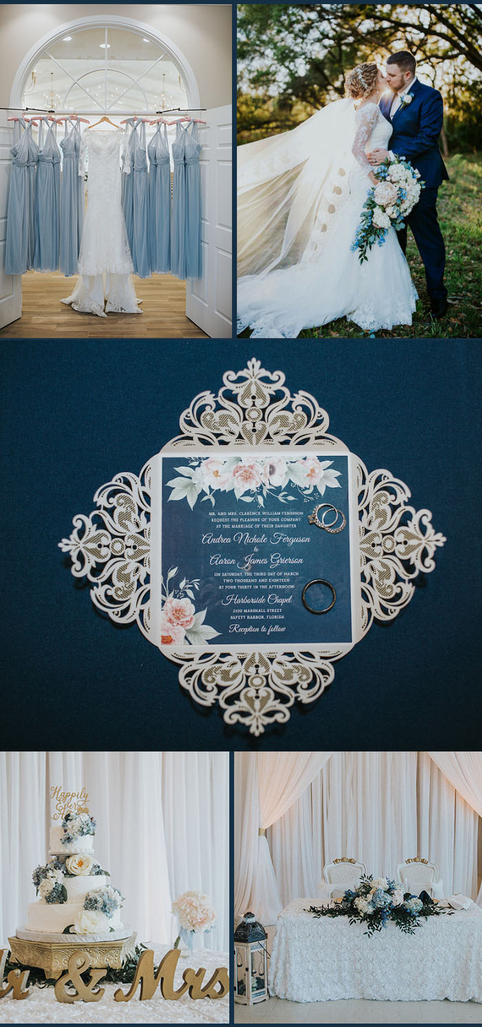 Andrea and Aaron's pale blue,blush and gold wedding inspiration with blue laser cut wedding invitations