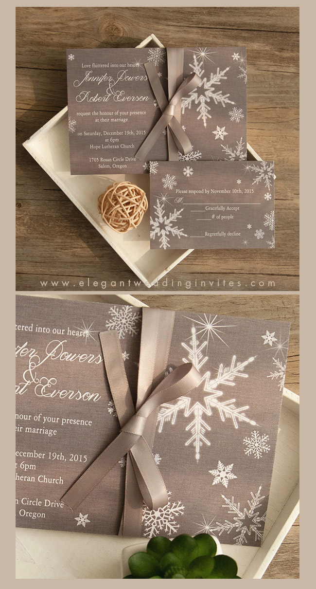 affordable snowflake winter wedding invitation cards