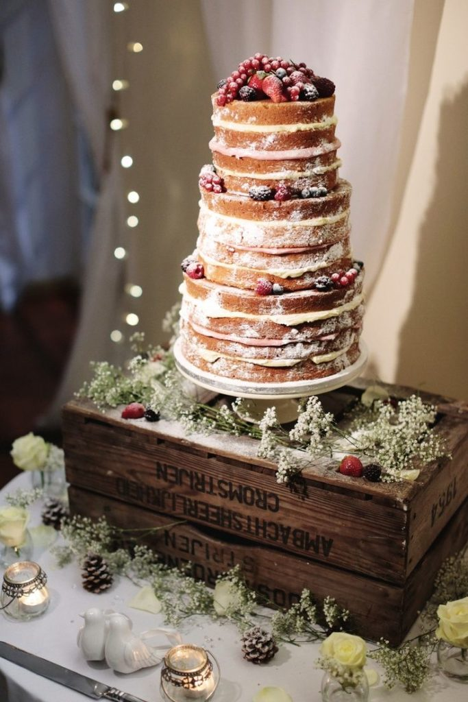 berry naked winter wedding cakes