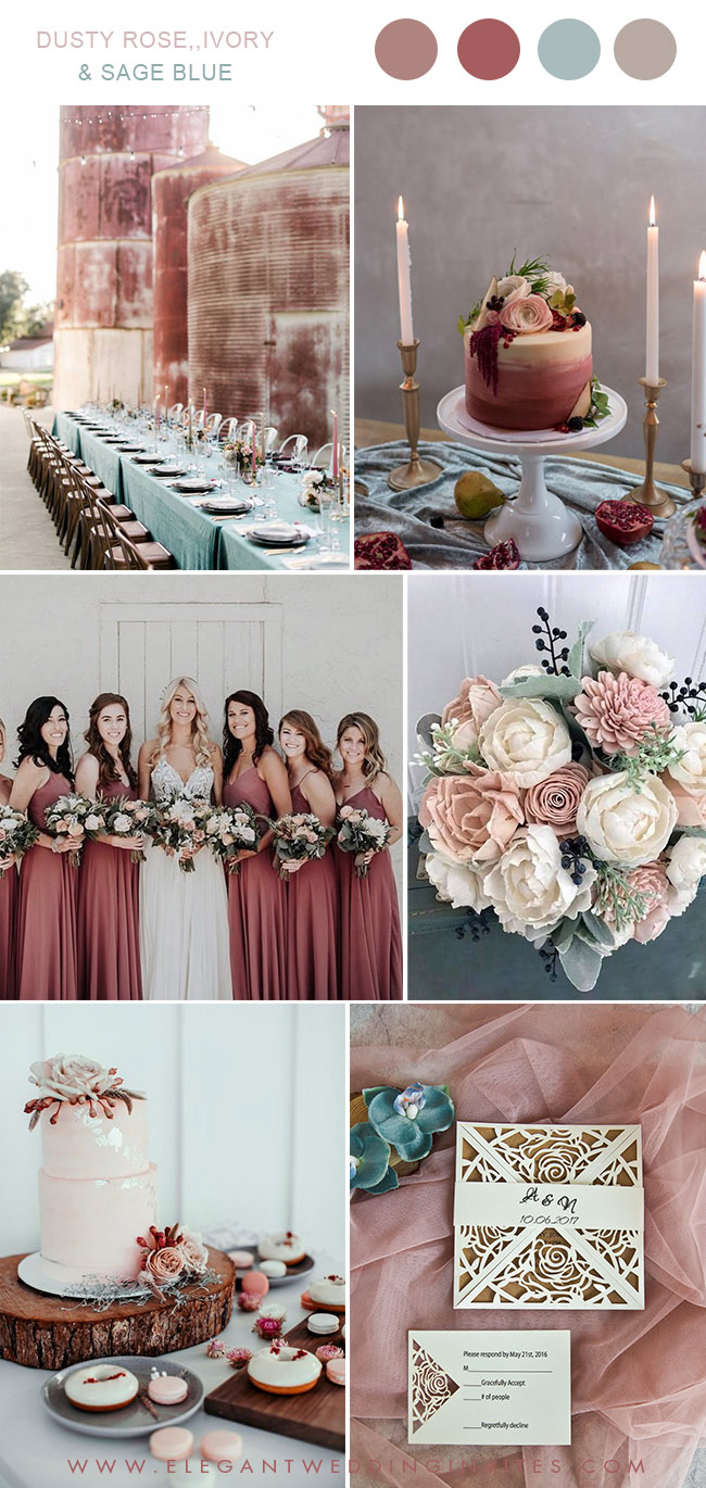 chic rustic dusty rose and sage blue weddubg color palette ideas