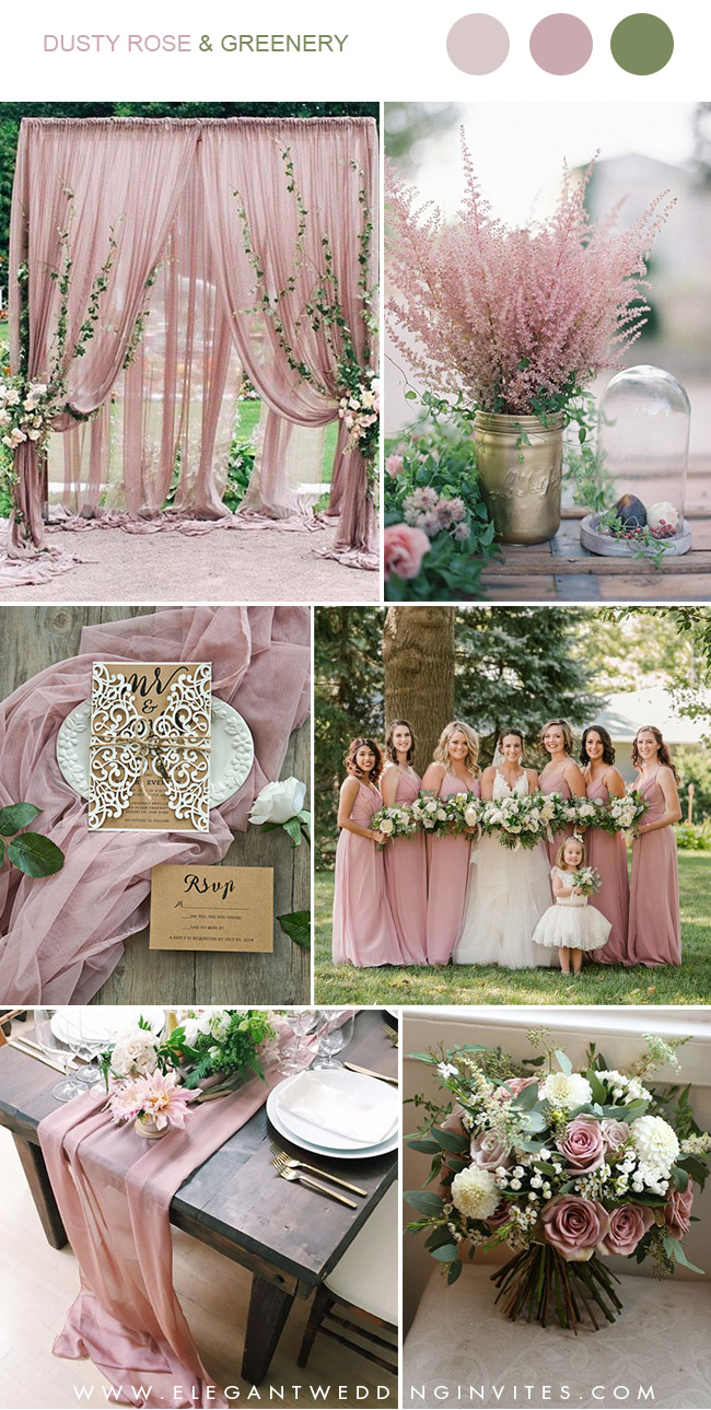 dusty rose and greenery wedding color combos