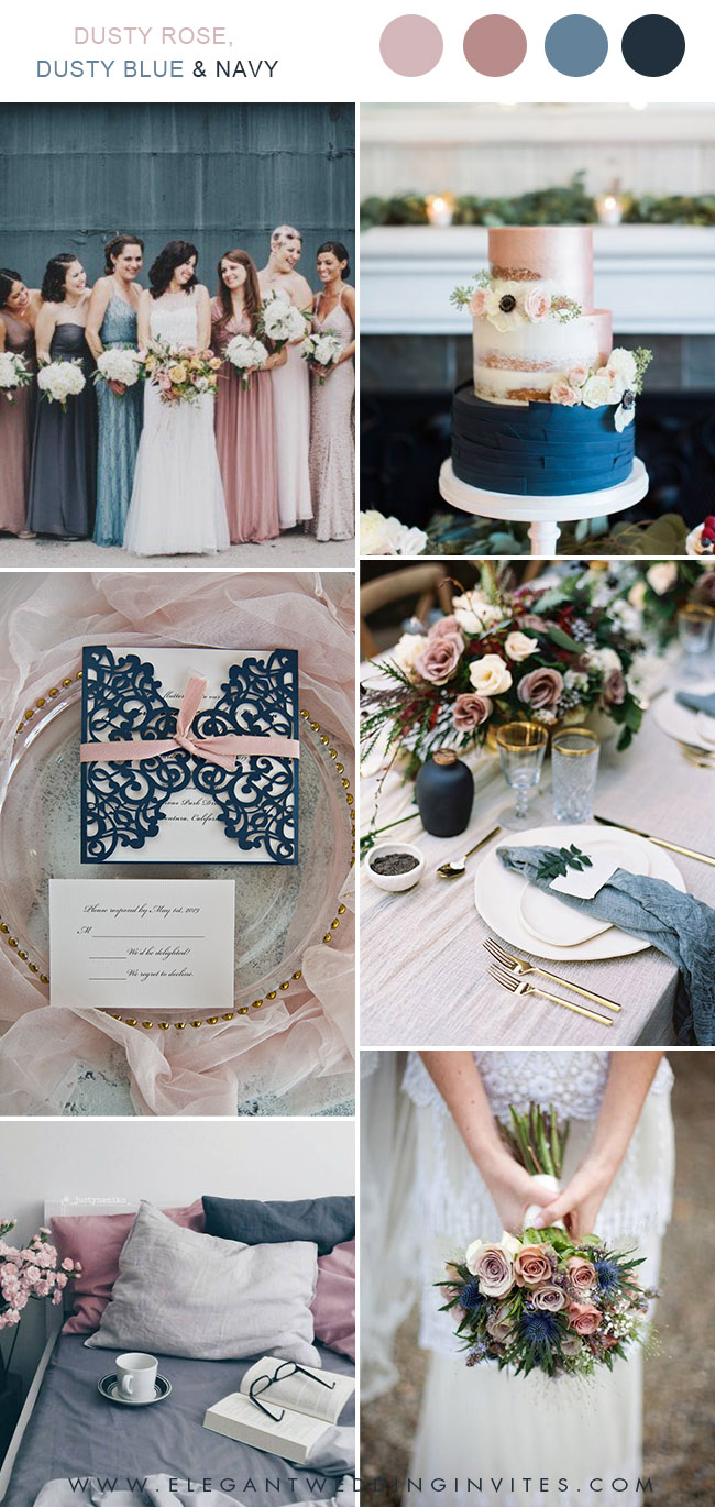 dusty rose, dusty blue and navy wedding color ideas