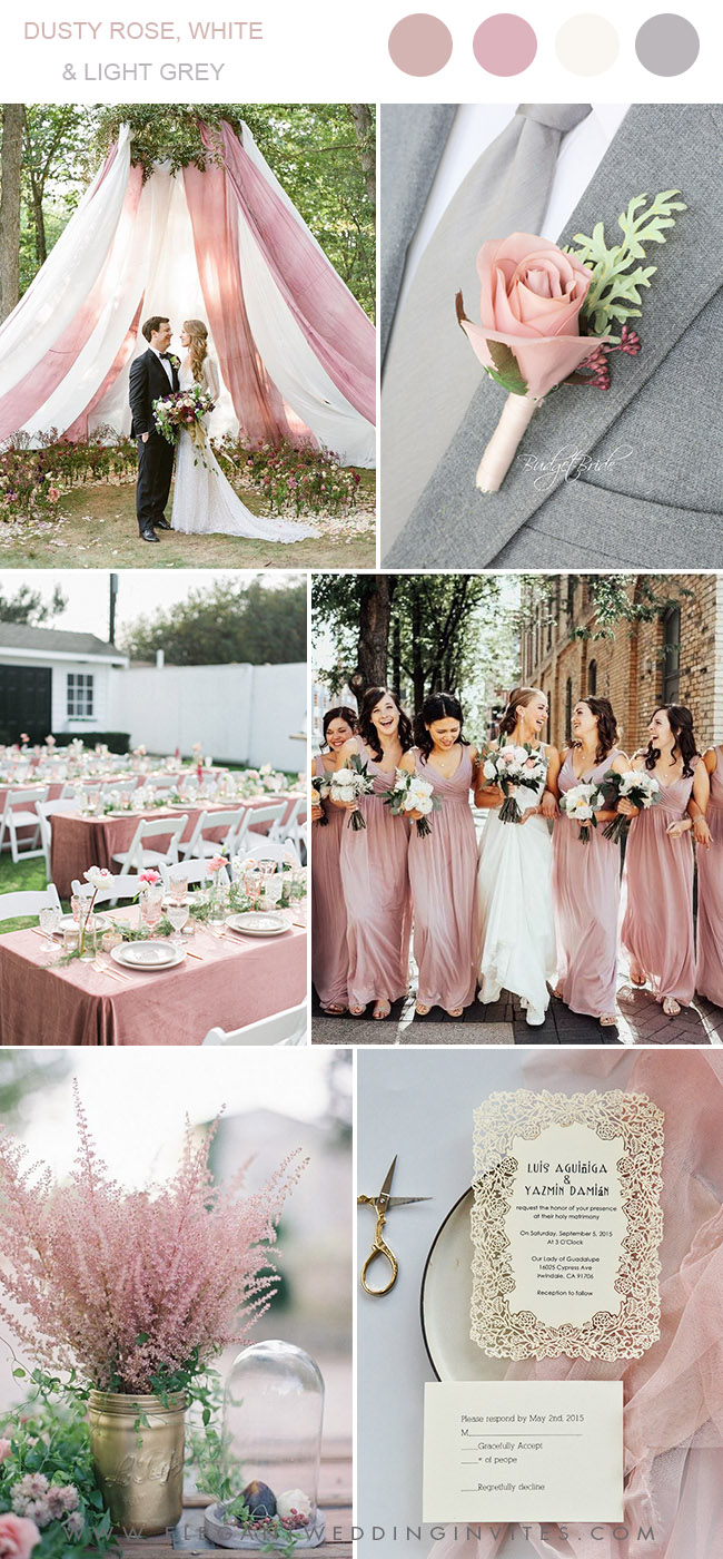 dusty rose, white and light grey spring and summer wedding colors