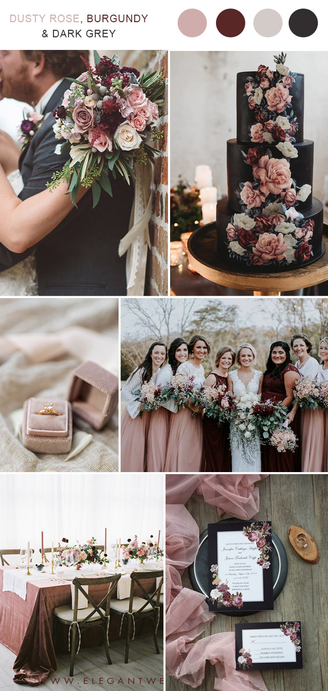 dusty rose,burgundy and dark grey vintage wedding colors